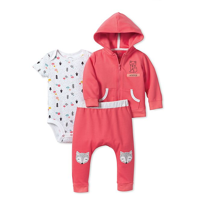 d087c3eea Lamaze® 3-Piece Fox Organic Cotton Hoodie and Pant Set in Pink | Bed ...