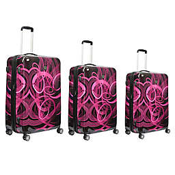 ful® Atomic 3-Piece Hardside Spinner Luggage Set in Pink