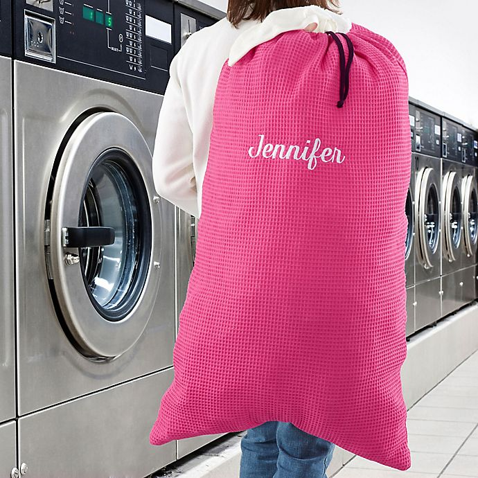 Alternate image 1 for Embroidered Laundry Bag in Pink