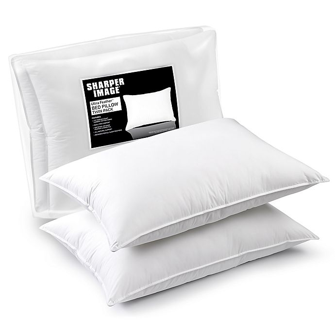 Shaper Image 174 Jumbo Ultra Feather Bed Pillows Set Of 2