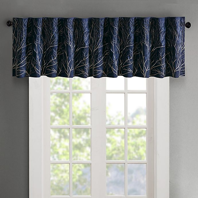 Alternate image 1 for Madison Park Andora Embroidered Rod Pocket/Back Tabs Window Valance in Navy