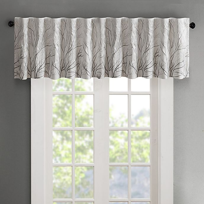 Alternate image 1 for Madison Park Andora Embroidered Rod Pocket/Back Tabs Window Valance in White