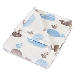 Trend Lab® Whales Plush Baby Blanket in Blue/White