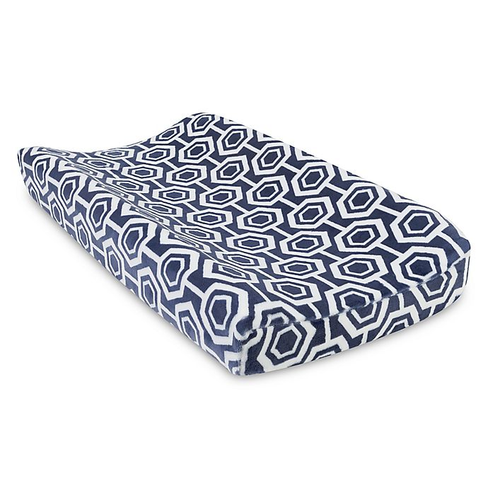 Alternate image 1 for Trend Lab® Hexagon Plush Changing Pad Cover in Navy/White