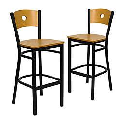 Flash Furniture Circle Back Metal and Natural Wood Bar Stools (Set of 2)