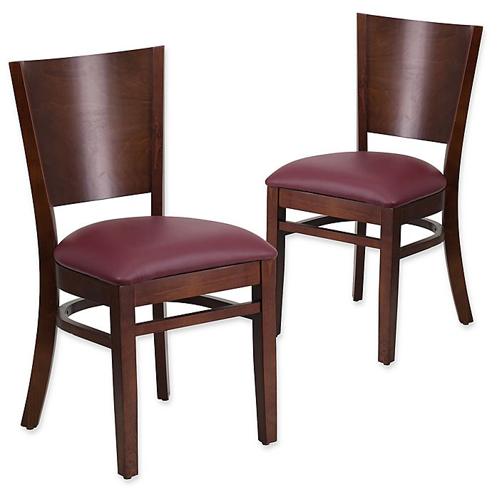 Alternate image 1 for Flash Furniture Solid Back Walnut Wood Chairs with Burgundy Vinyl Seats (Set of 2)