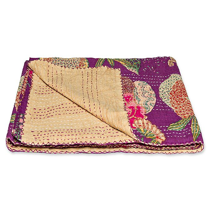 Alternate image 1 for Kantha Cotton Throw in Cream and Purple