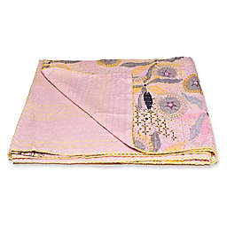 Kantha Cotton Throw in Pink and Grey