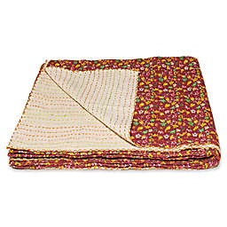 Kantha Cotton Throw in Burgundy and Cream