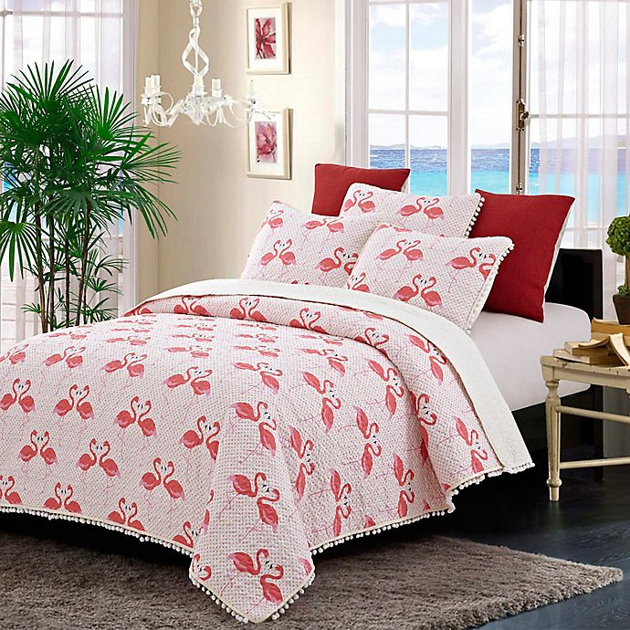 Alternate image 1 for Susan Emma Flamingo Dance Reversible Quilt Set