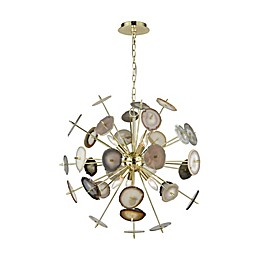 Galileo 6-Light Chandelier in Bright Gold/Agate