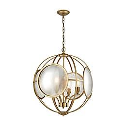 Le Style Metro 4-Light Chandelier in Gold/Antique Mercury