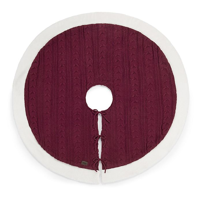 buy popular 50ab2 ca6a0 UGG® Cable Knit Tree Skirt in Garnet | Bed Bath & Beyond