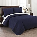 Brielle Wave Embroidered King Quilt Set in Navy/White