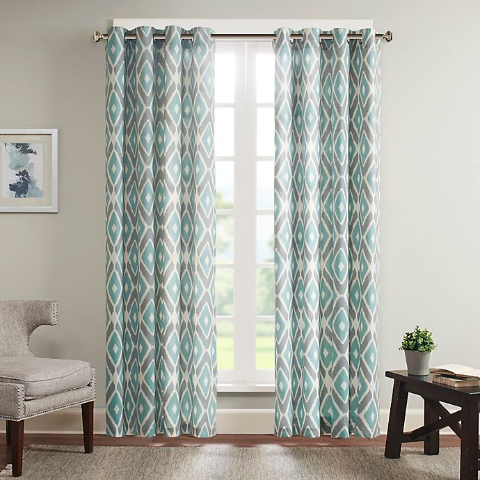 Alternate image 1 for Madison Park Ashlin 63-Inch Diamond Printed Window Curtain Panel in Aqua
