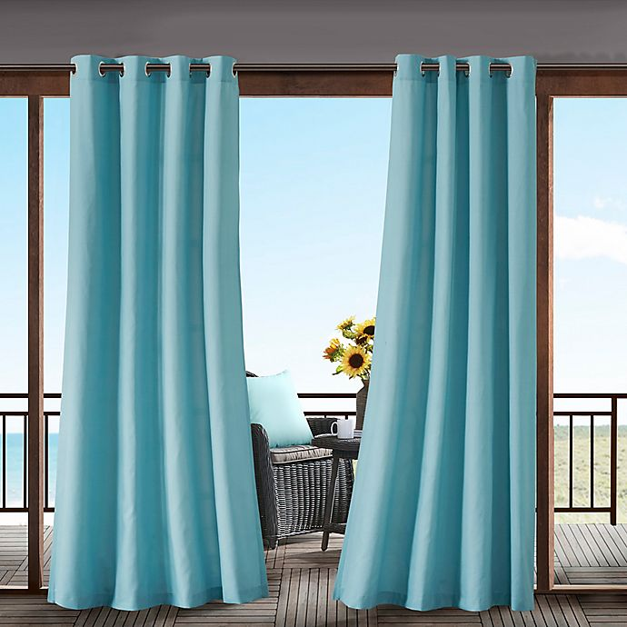 Alternate image 1 for Madison Park Pacifica Solid 3M Scotchgard 95-Inch Grommet Top Outdoor Curtain Panel in Aqua