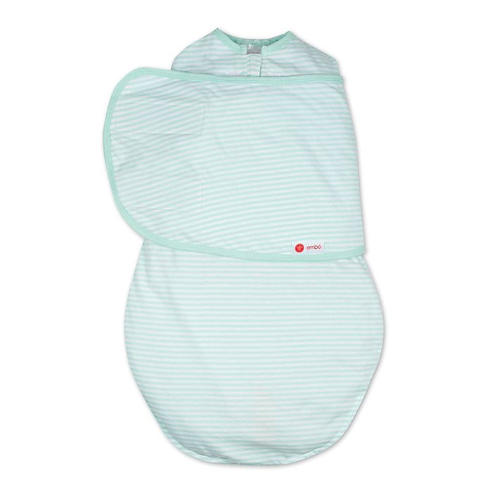 Alternate image 1 for Embe® Stripe Classic 2-Way Swaddle™ in Mint