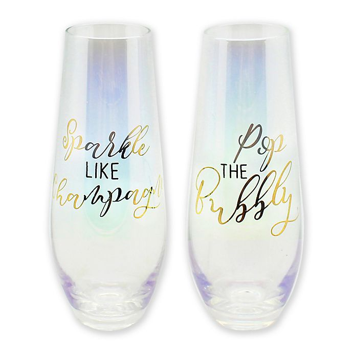 Alternate image 1 for Sparkle Stemless Champagne Flutes in Gold Luster (Set of 2)