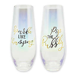 Sparkle Stemless Champagne Flutes in Gold Luster (Set of 2)