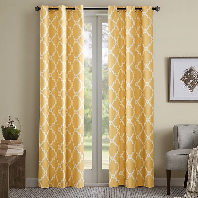 Alternate image 1 for Madison Park Merritt 84-Inch Grommet Top Room Darkening Window Curtain Panel Pair in Yellow