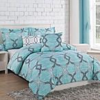 Project Generation Damaris 5-Piece Reversible Full/Queen Comforter Set in Teal