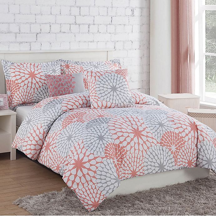 Alternate image 1 for Project Generation Stella 5-Piece Reversible Full/Queen Comforter Set in Coral/Grey