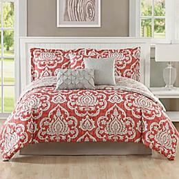 Studio 17 Dorian Reversible Comforter Set in Coral/Taupe