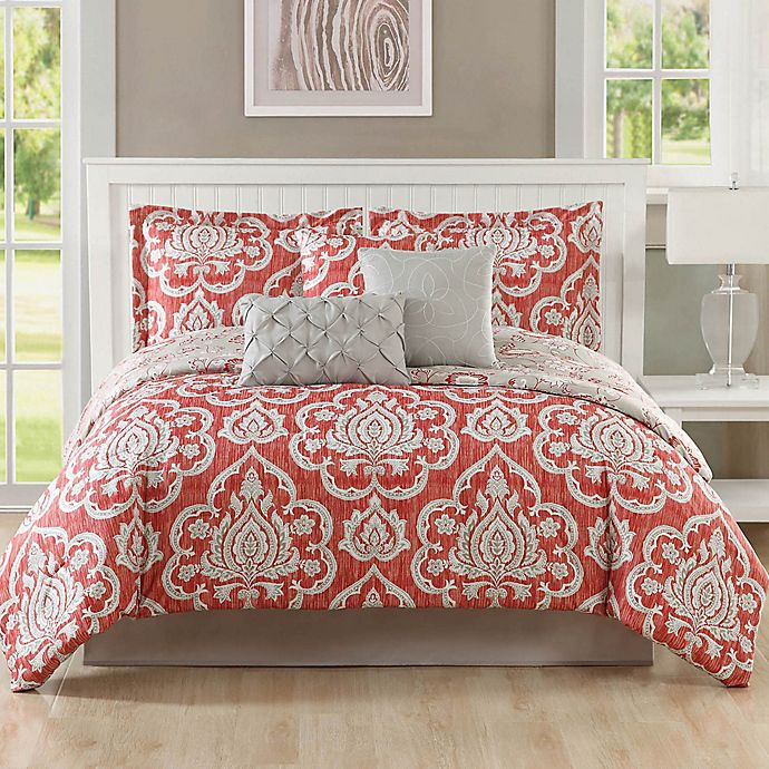 Alternate image 1 for Studio 17 Dorian 7-Piece Queen Reversible Comforter Set in Coral/Taupe