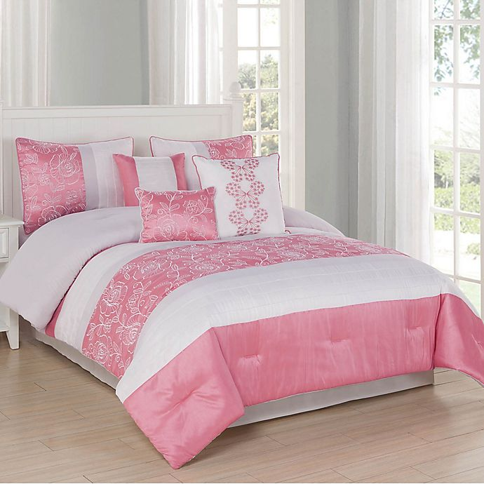 Alternate image 1 for Studio 17 Blossom 7-Piece Queen Comforter Set in Coral/Ivory