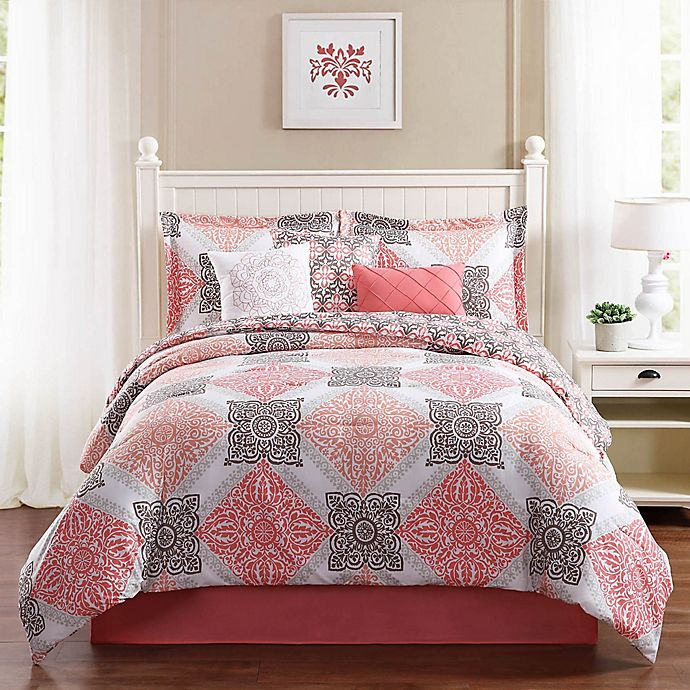 Alternate image 1 for Studio 17 Mallory 7-Piece King Reversible Comforter Set in Coral/Taupe
