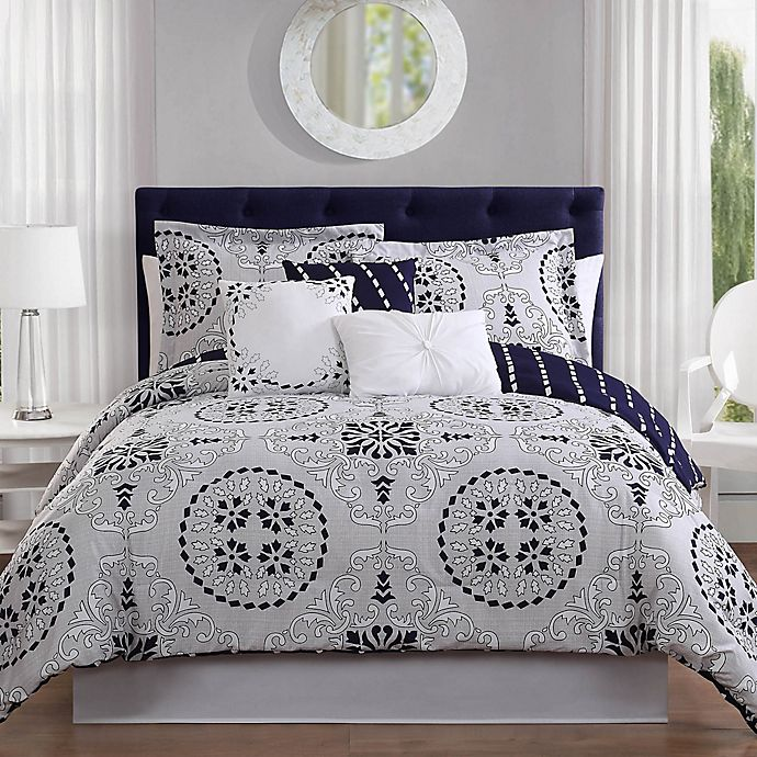Alternate image 1 for Studio 17 Bailey 7-Piece Queen Reversible Comforter Set in Navy