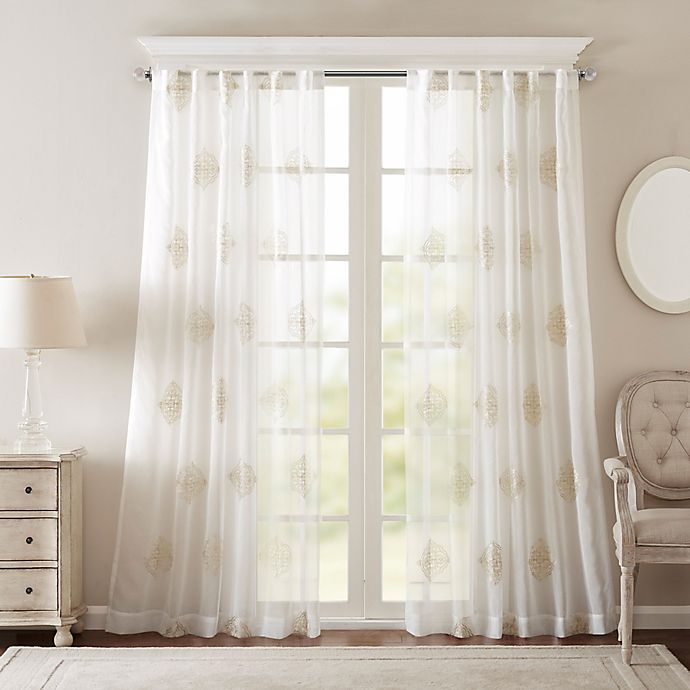 Alternate image 1 for Bombay® Massa 108-Inch Rod-Pocket Sheer Window Curtain Panel in Ivory