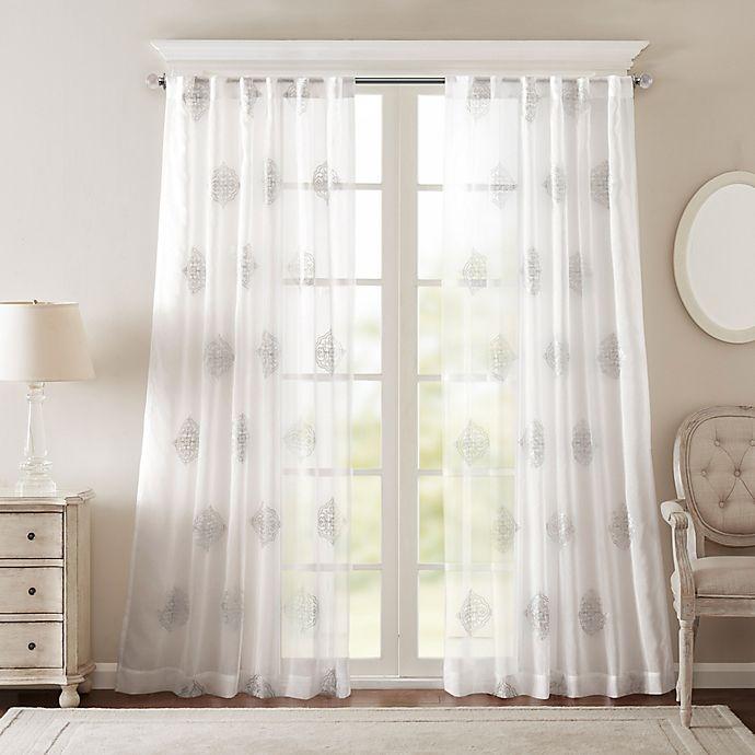Alternate image 1 for Bombay® Massa 108-Inch Rod-Pocket Sheer Window Curtain Panel in Silver