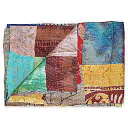 Kantha Quilted Silk Throw in Yellow and Brown