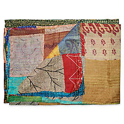 Kantha Quilted Silk Throw in Beige and Blue