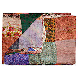 Kantha Quilted Silk Throw in Orange and Purple