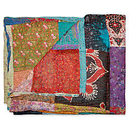 Kantha Quilted Silk Throw in Black and Red