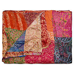 Kantha Quilted Silk Throw in Red and Orange