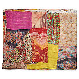 Kantha Quilted Silk Throw in Red and Yellow