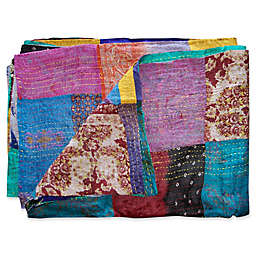 Kantha Quilted Silk Throw in Purple and Blue