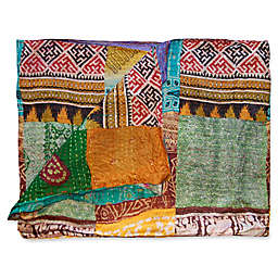 Kantha Quilted Silk Throw in Green and Orange