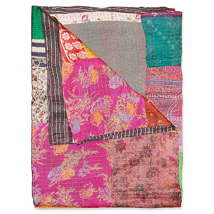 Alternate image 1 for Kantha Silk Throw in Pink, Green and Brown