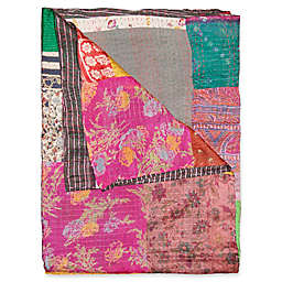 Kantha Silk Throw in Pink, Green and Brown