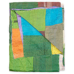 Kantha Silk Throw in Green, Blue and Orange