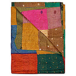 Kantha Silk Throw