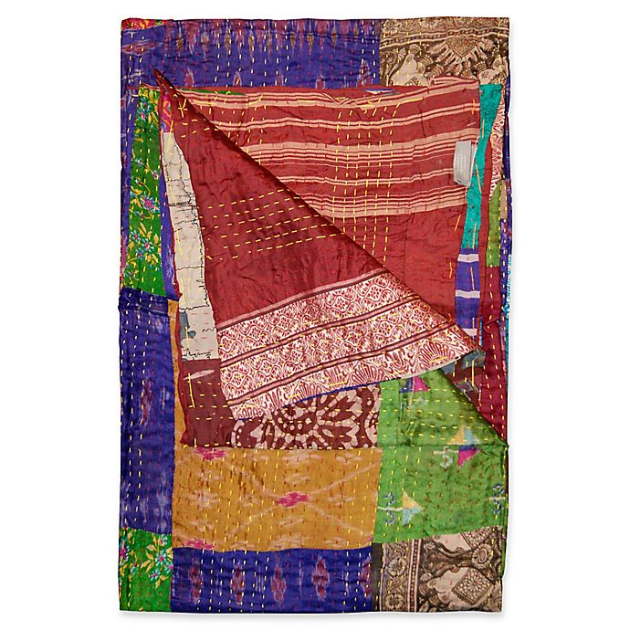 Alternate image 1 for Kantha Silk Throw in Purple, Burgundy and Yellow