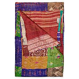 Kantha Silk Throw in Purple, Burgundy and Yellow