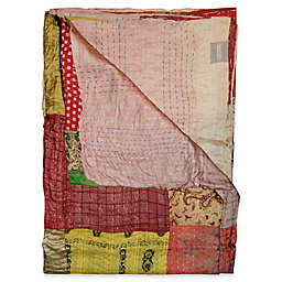 Kantha Silk Throw in Yellow, Dusty Rose and Burgundy