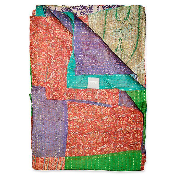 Alternate image 1 for Kantha Silk Throw in Orange, Purple and Green