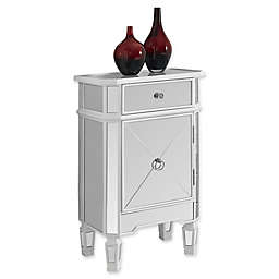 Monarch Specialties 29-Inch Mirrored Accent Chest in Brushed Silver
